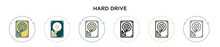 Hard Drive Icon In Filled, Thin Line, Outline And Stroke Style. Vector Illustration Of Two Colored And Black Hard Drive Vector Icons Designs Can Be Used For Mobile, Ui, Web