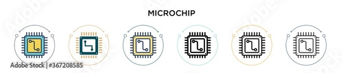 Fototapeta Microchip icon in filled, thin line, outline and stroke style