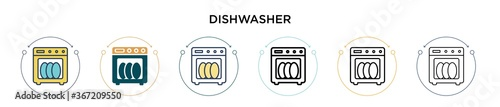 Papel de parede Dishwasher icon in filled, thin line, outline and stroke style