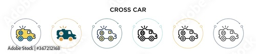 Fotomural Red cross car icon in filled, thin line, outline and stroke style