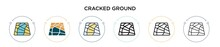Cracked Ground Icon In Filled,...