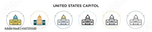 United states capitol icon in filled, thin line, outline and stroke style Wallpaper Mural