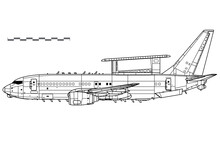 Boeing 737 AEW&C, E-7A Wedgetail. Vector Drawing Of Airborne Early Warning And Control Aircraft. Side View. Image For Illustration And Infographics.
