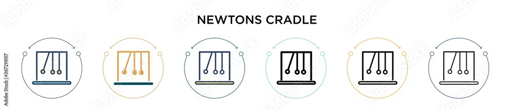 Fototapeta Newtons cradle icon in filled, thin line, outline and stroke style. Vector illustration of two colored and black newtons cradle vector icons designs can be used for mobile, ui, web
