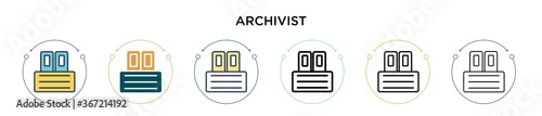 Archivist icon in filled, thin line, outline and stroke style Wallpaper Mural