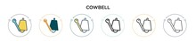 Cowbell Icon In Filled, Thin L...
