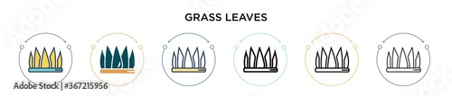 Fotografie, Obraz Grass leaves icon in filled, thin line, outline and stroke style