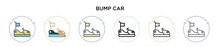 Bump Car Icon In Filled, Thin Line, Outline And Stroke Style. Vector Illustration Of Two Colored And Black Bump Car Vector Icons Designs Can Be Used For Mobile, Ui, Web