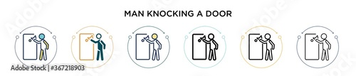 Foto Man knocking a door icon in filled, thin line, outline and stroke style