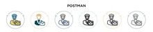 Postman Icon In Filled, Thin L...