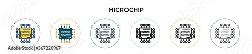 Fotografie, Obraz Microchip icon in filled, thin line, outline and stroke style