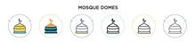 Mosque Domes Icon In Filled, T...