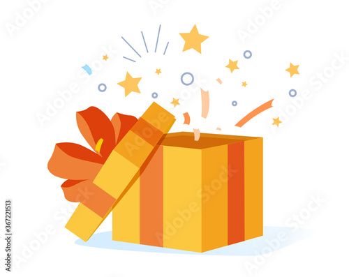 Congrats poster with open gift box, ribbons and confetti isolated on white background Fototapeta