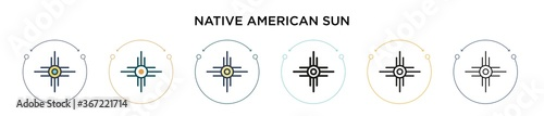 Fotografie, Obraz Native american sun icon in filled, thin line, outline and stroke style