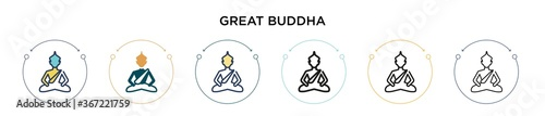 Foto Great buddha icon in filled, thin line, outline and stroke style