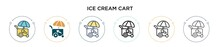 Ice Cream Cart Icon In Filled,...