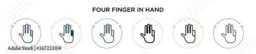 Fotografie, Tablou Four finger in hand icon in filled, thin line, outline and stroke style