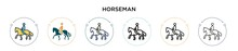 Horseman Icon In Filled, Thin Line, Outline And Stroke Style. Vector Illustration Of Two Colored And Black Horseman Vector Icons Designs Can Be Used For Mobile, Ui, Web