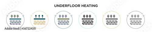 Photographie Underfloor heating icon in filled, thin line, outline and stroke style