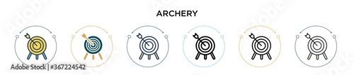 Archery icon in filled, thin line, outline and stroke style Wallpaper Mural