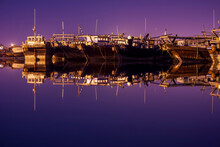 Boats During The Night In A Port