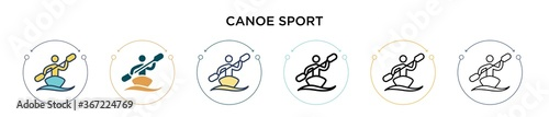 Canoe sport icon in filled, thin line, outline and stroke style Poster Mural XXL