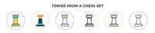 Tower From A Chess Set Icon In Filled, Thin Line, Outline And Stroke Style. Vector Illustration Of Two Colored And Black Tower From A Chess Set Vector Icons Designs Can Be Used For Mobile, Ui, Web