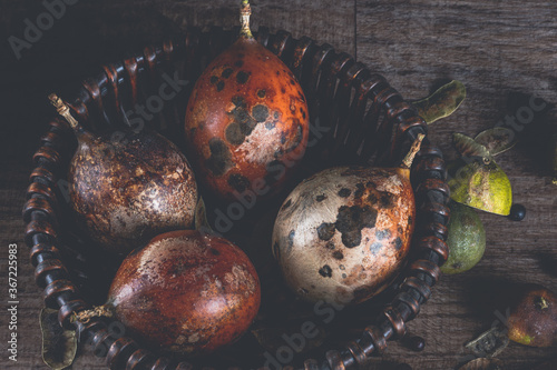 Valokuvatapetti Still Life with Rotten Fruits, general view of fruits in wicker basket