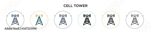 Fotografie, Tablou Cell tower icon in filled, thin line, outline and stroke style
