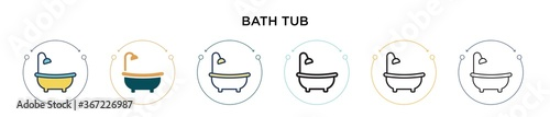 Bath tub icon in filled, thin line, outline and stroke style Fototapete