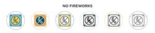 No Fireworks Icon In Filled, T...