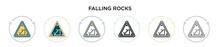 Falling Rocks Sign Icon In Fil...