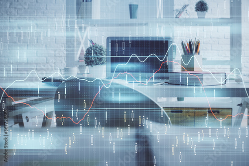 Double exposure of financial graph drawing and office interior background Wallpaper Mural