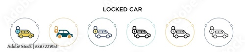 Locked car icon in filled, thin line, outline and stroke style Tapéta, Fotótapéta