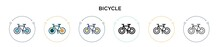 Bicycle Icon In Filled, Thin Line, Outline And Stroke Style. Vector Illustration Of Two Colored And Black Bicycle Vector Icons Designs Can Be Used For Mobile, Ui, Web