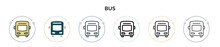 Bus Icon In Filled, Thin Line,...