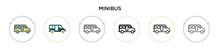 Minibus Icon In Filled, Thin L...