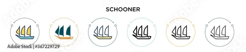 Fotografie, Obraz Schooner icon in filled, thin line, outline and stroke style