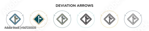 фотография Deviation arrows signal of street icon in filled, thin line, outline and stroke style