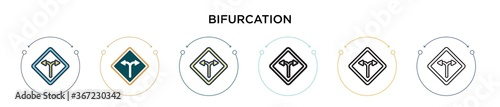 Bifurcation signal icon in filled, thin line, outline and stroke style фототапет