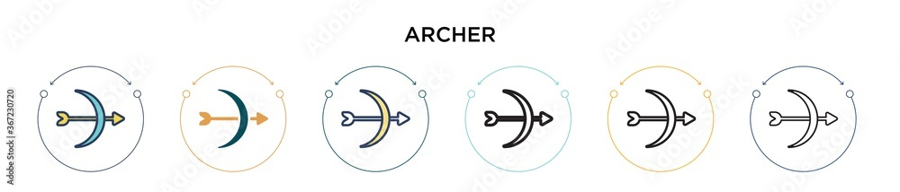 Fototapeta Archer icon in filled, thin line, outline and stroke style. Vector illustration of two colored and black archer vector icons designs can be used for mobile, ui, web