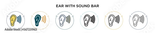 Photo Ear with sound bar icon in filled, thin line, outline and stroke style