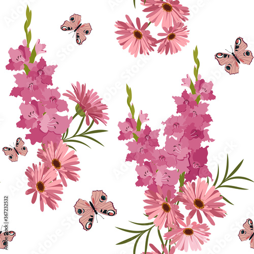 Fotomural Gladioli, gerberas and butterflies on a white seamless background