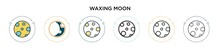 Waxing Moon Icon In Filled, Th...
