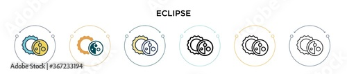 Fotografie, Obraz Eclipse icon in filled, thin line, outline and stroke style