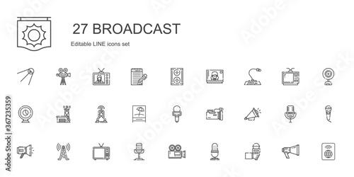 Fototapeta broadcast icons set obraz