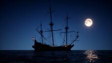 Ancient Ship Sailing Under The Moon.