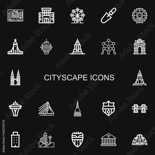 Editable 22 cityscape icons for web and mobile Wallpaper Mural