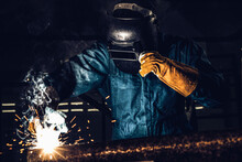 Metal Welder Working With Arc ...