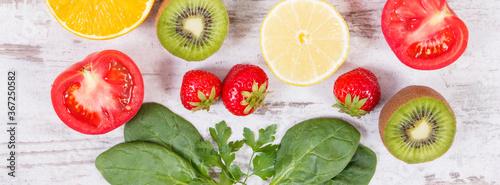 Fruits and vegetables containing vitamin C, fiber and minerals, strengthening im Tapéta, Fotótapéta